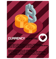 currency color isometric poster vector image vector image
