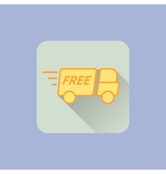 Delivery Truck Icon With free sign on blue vector image vector image