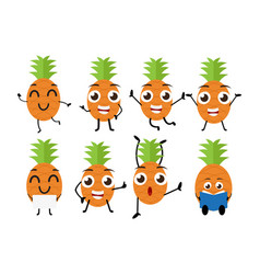 happy pineapple cartoon character vector image