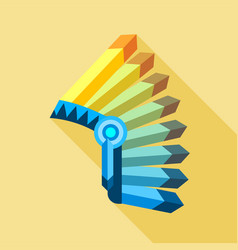 indian feather headdress icon flat style vector image