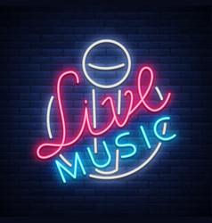 live musical neon sign logo emblem symbol vector image