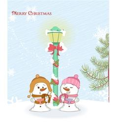 snowmen with street light vector image vector image