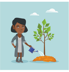 young african-american woman watering a tree vector image vector image
