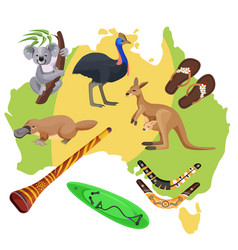 australia symbols on map koala kangaroo vector image