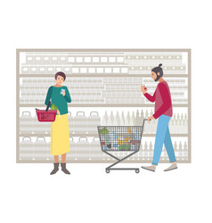 concept for supermarket or shop people with vector image