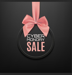 cyber monday sale round banner with pink ribbon vector image