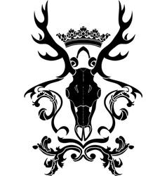 Emblem heraldic symbol with deer skull and crown vector image