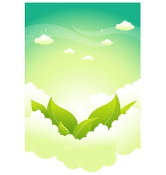 Green leaves in clouds vector image vector image