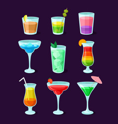 set of different alcoholic cocktails summer vector image