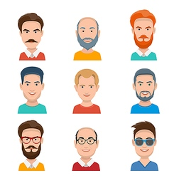 Set of Different Male Faces vector image