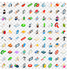 100 dialog icons set isometric 3d style vector image vector image
