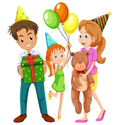 A happy family celebrating a birthday vector image
