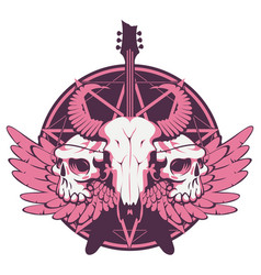 Banner with guitar skulls wings and pentagram vector