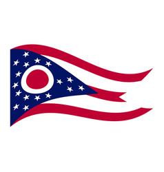 flag of ohio waving on white background vector image vector image