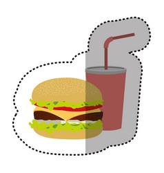 hamburger and soda flat icon vector image