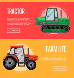 heavy agricultural machinery flyers set vector image vector image