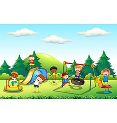 Many kids playing in the playground vector image vector image