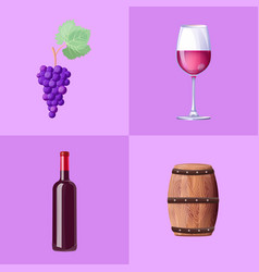 set of icons on purple on vector image