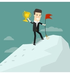 Successful businessman standing on top of a vector image vector image