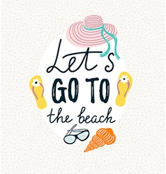 Summer banner with beach accessories hand drawn vector