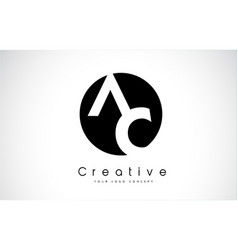 Ac letter logo design inside a black circle vector