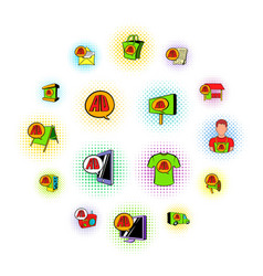 advertisement set icons comics style vector image