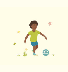 African american boy plays with a soccer ball vector