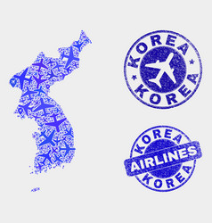 airlines collage korea map and grunge seals vector image