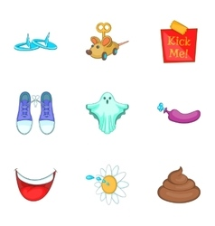 April fools joke icons set cartoon style vector