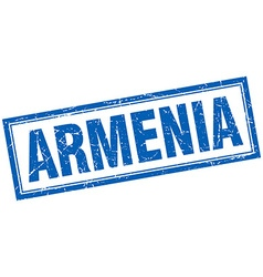 Armenia blue square grunge stamp on white vector