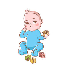 Baby boy playing with cubes funny cute vector
