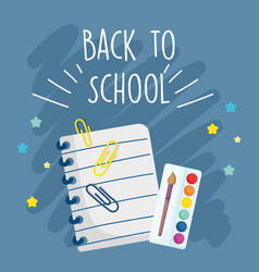 Back to school education notepad palette color and vector