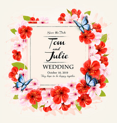 beautiful wedding invitation design with colorful vector image
