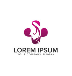 Beauty spa women logo design concept template vector