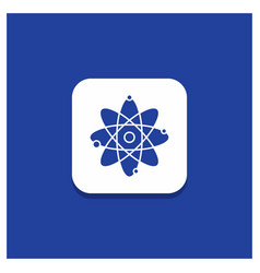 blue round button for atom nuclear molecule vector image