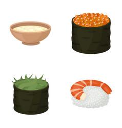 Bowl of soup caviar shrimp with rice sushi set vector