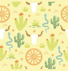 Cactuses desert seamless pattern western wild vector
