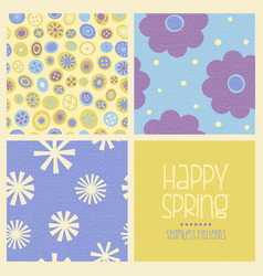 cheerful coordinating seamless spring designs vector image