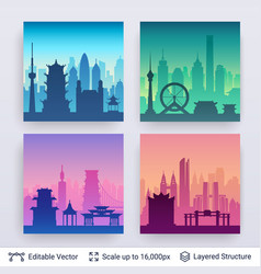 collection of famous chinese city scapes vector image