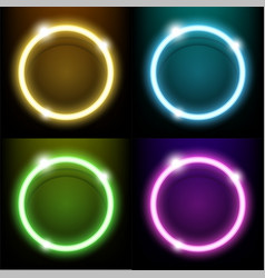 colorful neon light circle ring vector image