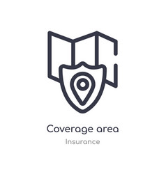 Coverage area outline icon isolated line from vector