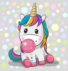 cute cartoon unicorn with bubble gum vector image