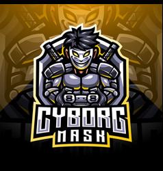 Cyborg mask esport mascot logo design vector