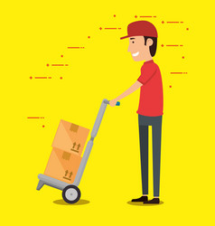 delivery worker with cart boxes vector image