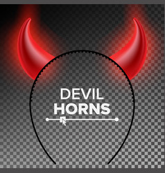 devil horns head gear red luminous horn vector image