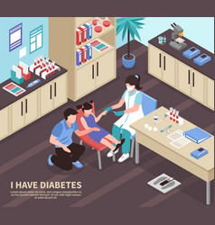diabetes hospital isometric composition vector image