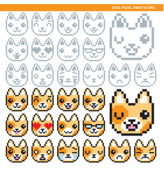 dog pixel emoticons vector image