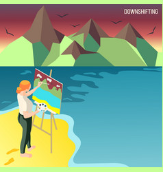 downshifting people isometric background vector image