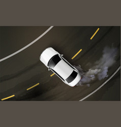 Drifting car realistic composition vector
