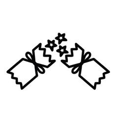 Exploding christmas cracker icon vector